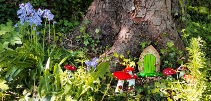 Fairy door and toadstools in the museum garden